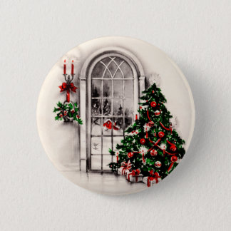 Vintage Christmas Window Button
