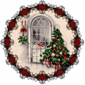 Vintage Christmas Window Ornament Photo Sculpture Decoration