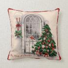Vintage Christmas Window Pillow