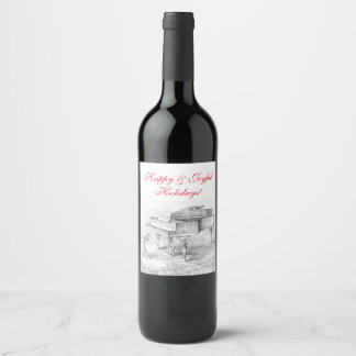 Vintage Christmas wine bottle label Happy Holidays