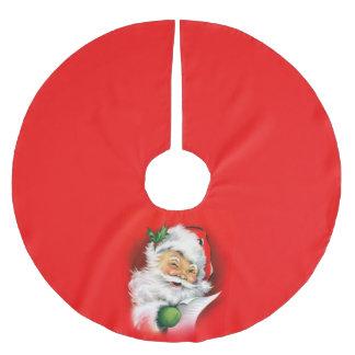 Vintage Christmas Winking Santa Brushed Polyester Tree Skirt