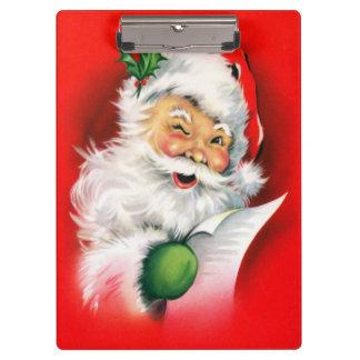 Vintage Christmas Winking Santa Clipboard
