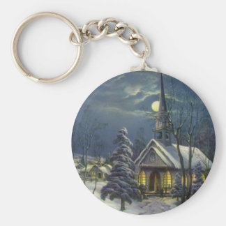 Vintage Christmas, Winter Church in Moonlight Basic Round Button Key Ring