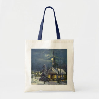 Vintage Christmas, Winter Church in Moonlight Budget Tote Bag
