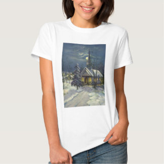 Vintage Christmas, Winter Church in Moonlight Shirt