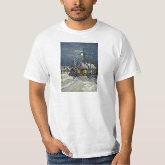Vintage Christmas, Winter Church in Moonlight T-shirt