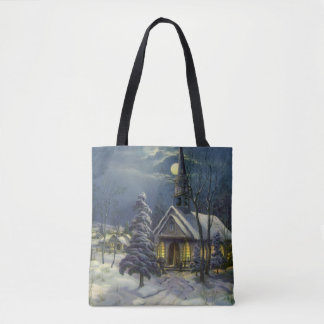 Vintage Christmas, Winter Church in Moonlight Tote Bag