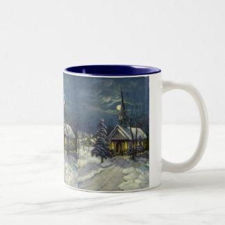Vintage Christmas, Winter Church in Moonlight Two-Tone Coffee Mug