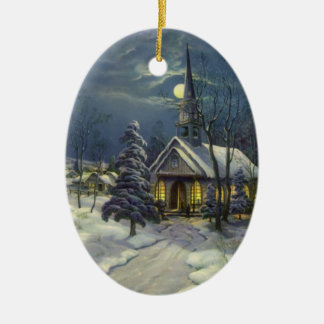 Vintage Christmas, Winter Church in Snow with Moon Christmas Ornament