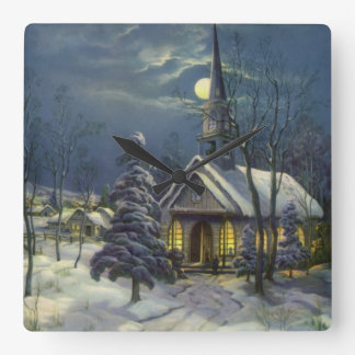 Vintage Christmas, Winter Church in Snow with Moon Square Wall Clock