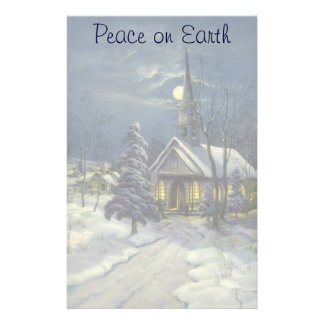 Vintage Christmas, Winter Church in Snow with Moon Stationery