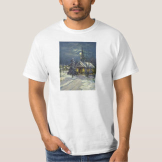 Vintage Christmas, Winter Church in Snow with Moon T-Shirt