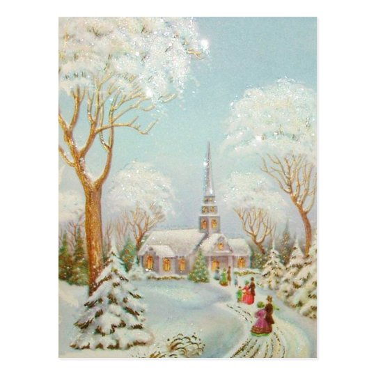 Vintage Christmas Winter Church Scene Postcard