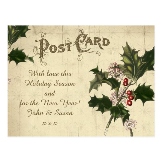 vintage christmas winter holiday postcard holly