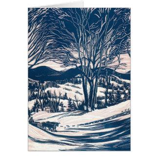 Vintage Christmas, Winter Mountain Landscape Card