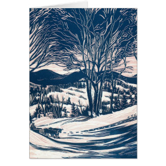 Vintage Christmas, Winter Mountain Landscape Greeting Card