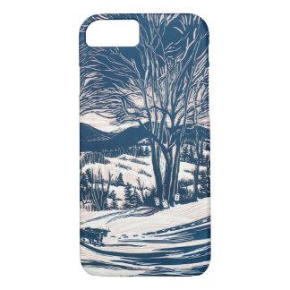 Vintage Christmas, Winter Mountain Landscape iPhone 8/7 Case