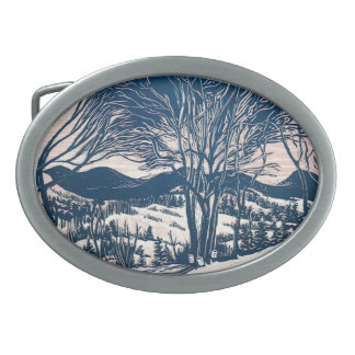Vintage Christmas, Winter Mountain Landscape Oval Belt Buckles