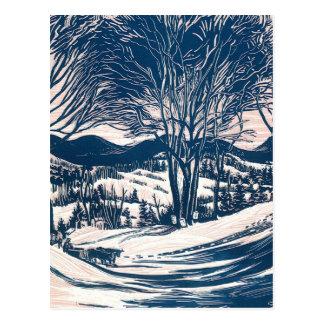 Vintage Christmas, Winter Mountain Landscape Postcard