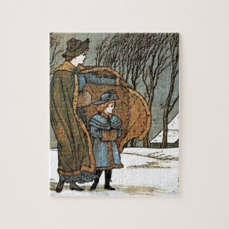 Vintage Christmas Winter Scene, Girls, Bird, Snow. Puzzle