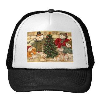 Vintage Christmas, winter scenes Hat
