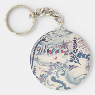 Vintage Christmas, Winter Village Snowscape Basic Round Button Key Ring