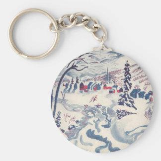 Vintage Christmas, Winter Village Snowscape Basic Round Button Key Ring