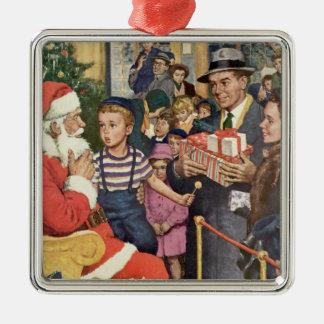 Vintage Christmas Wish, Boy on Santa Claus Lap Silver-Colored Square Decoration