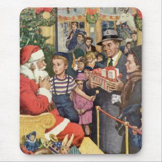Vintage Christmas Wish Boy on Santa s Lap Mousepads