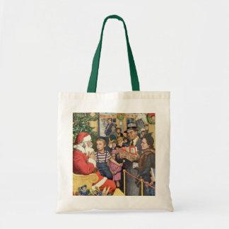 Vintage Christmas Wish, Boy on Santa's Lap Budget Tote Bag