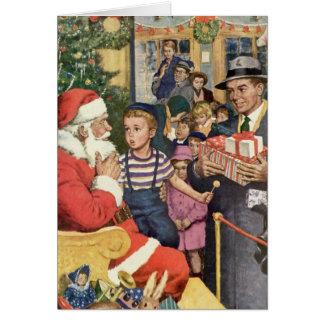 Vintage Christmas Wish, Boy on Santa's Lap Greeting Card