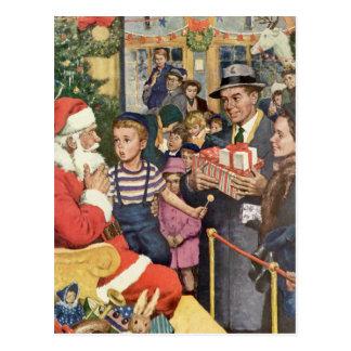 Vintage Christmas Wish, Boy on Santa's Lap Postcard