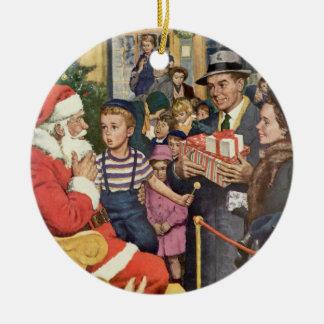 Vintage Christmas Wish, Boy on Santa's Lap Round Ceramic Decoration