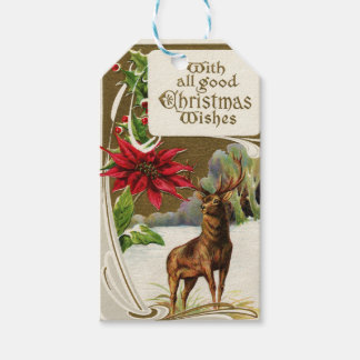 Vintage Christmas Wish Deer Gift Tags