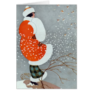 Vintage Christmas Woman In Snow Greeting Card