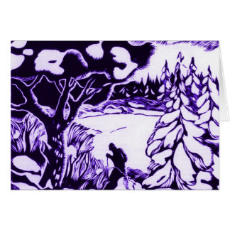 VIntage Christmas Woodcut, skier in the forest Greeting Card