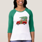 Vintage Christmas Woody Wagon Bringing Home Tree T-Shirt
