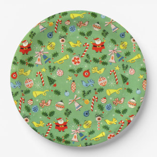 Vintage Christmas Wrap Holiday Plate 9 Inch Paper Plate