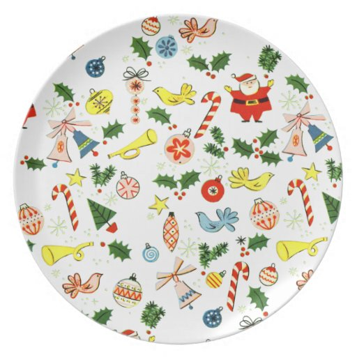 Vintage Christmas Wrapping Paper Melamine Plate