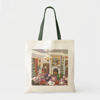 Vintage Christmas Wrapping Presents in Living Room Budget Tote Bag