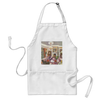 Vintage Christmas Wrapping Presents in Living Room Standard Apron