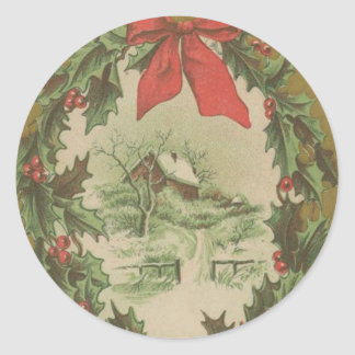 Vintage Christmas Wreath and Winter Cabin Classic Round Sticker