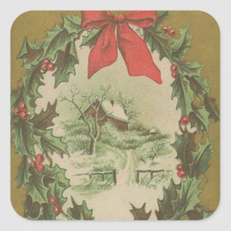 Vintage Christmas Wreath and Winter Cabin Sticker