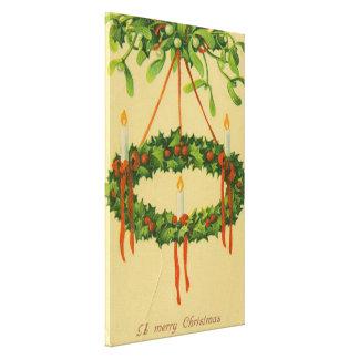 Vintage Christmas Wreath Chandelier Canvas Print