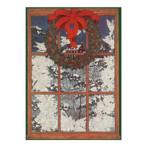 Vintage Christmas Wreath in a Window Posters