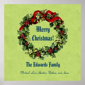 Vintage Christmas Wreath Merry Christmas Green 04 Poster