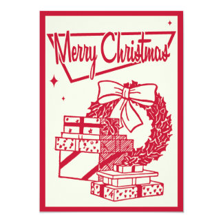Vintage Christmas Wreath Party Invitation