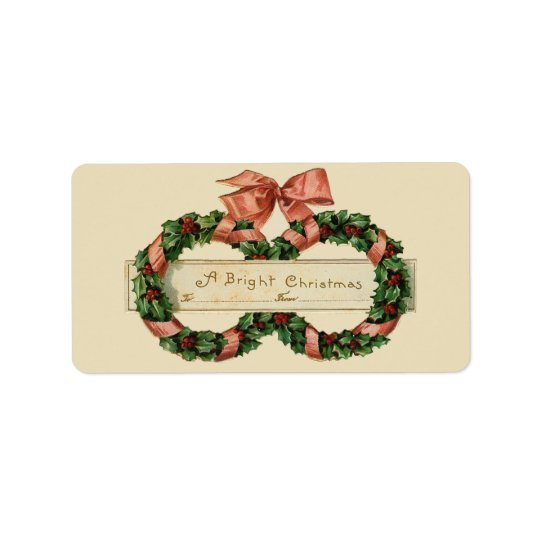 Vintage Christmas Wreaths Gift Tag Avery Label Address Label