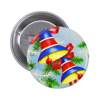Vintage Christmas Xmas Bells 6 Cm Round Badge