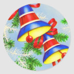 Vintage Christmas Xmas Bells Classic Round Sticker